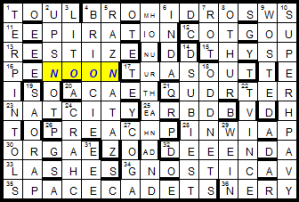 My crossword programme doesn't do writing letters atop one another...